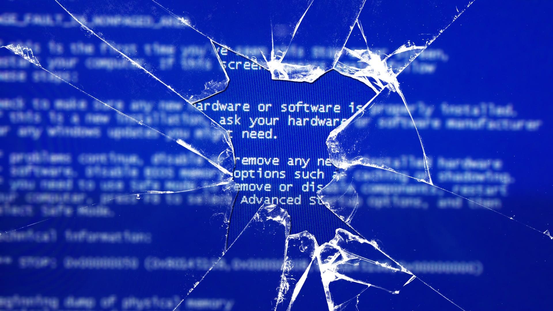 blue screen through a broken window wallpaper 578699