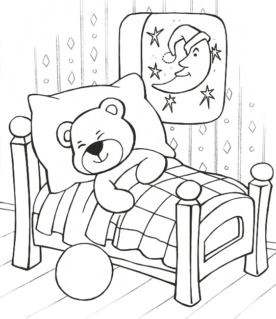 Free printable teddy bear coloring pages technosamrat for Sleeping coloring page